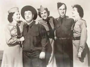 Abbott and Costello with the Andrews Sisters (BUCK PRIVATES publicity photo)