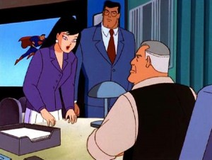 Lois Lane and Clark Kent meet with Daily Planet editor, Perry White (publicity still)