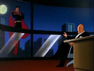 Superman confronts his arch nemesis, Lex Luthor (publicity still)