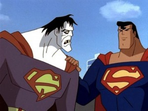 Superman consoles his damaged clone, Bizarro (publicity still)