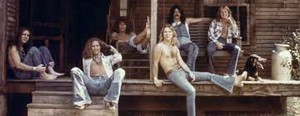 "Black Oak Arkansas, circa 1976 (Stanley Knight, Pat Duagherty, Tommy Aldridge, Jim ""Dandt Mangrum, Rickie Lee Reynolds, Jimmy Henderson) (publicity photo)"