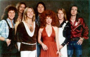 "Black Oak Arkansas and Ruby Starr, 1976 (Tommy Aldridge, Pat Daugherty, Jim ""Dandy"" Mangrum, Marius Penczner, Ruby Starr, Jimmy Henderson, Stanley Knight) (publicity photo)"