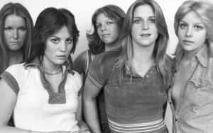 The Runaways, 1976 (Lita Ford, Joan Jett, Jackie Fox, Sandy West, Cherie Currie) (photo credit: TOM GOLD)