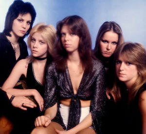 The Runaways, circa 1977 (Joan Jett, Cherie Currie, Jackie Fox, Lita Ford, Sandy West) (photo credit: CLAUDE VAN HEY/LONDON FEATURES)