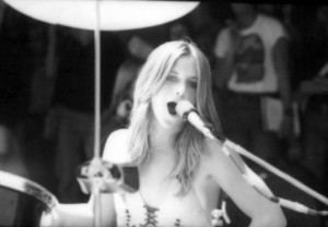 Sandy West doing what she loved... playing live (uncredited photo)