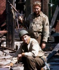 COMBAT! stars Rick Jason and Vic Morrow (publicity still)