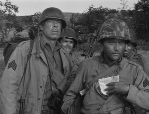 "COMBAT! Season 2, Episode 1 (""The Bridge At Chalons"") guest star Lee Marvin with Vic Morrow and Tom Lowell (screen capture)"