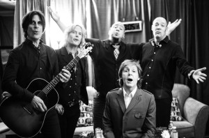 Paul McCartney and the boys in the band (Rusty Anderson, Brian Ray, Abe Laboriel, Junior and Paul Wickens (photo credit: MJ KIM)