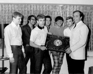 Tommy James and the Shondells receive their first gold record from Morris Levy, 1966 (publicity photo)