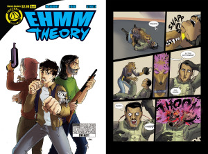 EHMM THEORY, BOOK ONE: Issue 4 cover, page 12 (Written by BROCKTON MCKINNEY, art by LARKIN FORD and JASON STRUTZ)