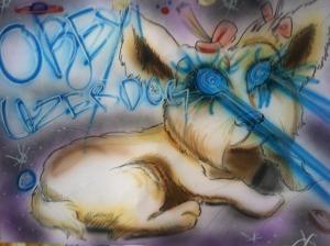 An original Laser Dog piece (art by GREG MCCRARY)