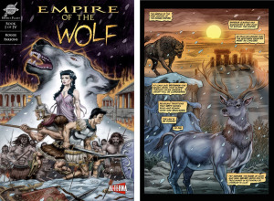 EMPIRE OF THE WOLF: Issue 1 cover, page 1 (Cover by DAN PARSONS; Written by MICHAEL KOGGE, art by DAN PARSONS and DAVID RABBITTE)
