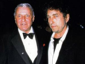 Frank Sinatra and Bob Dylan at Sinatra's 80th birthday, 1995 (uncredited photo)