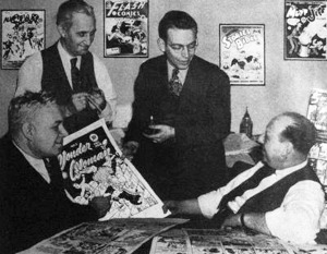THE SECRET HISTORY OF WONDER WOMAN (DC Comics editorial meeting, 1942, with William Moulton Marston. artist Harry G Peter, editor Sheldon Mayer, publisher MC Gaines) (Publicity photo)
