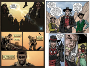 "DEADLANDS, VOLUME ONE: DEAD MAN'S HAND: ""What a Man's Got To Do"" (Written by MATTHEW CUTTER, art by ULISES ROMAN and DOUG SPENCER); ""Vengeful"" (Written by SHANE HENSLEY, art by SEAN LEE, MIKE MUNSHAW and C EDWARD SELLNER)"