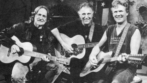Willie Nelson, Jerry Jeff Walker and Kris Kristofferson on the set of THE TEXAS CONNECTION, 1992 (publicity photo)