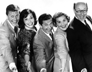 THE DICK VAN DYKE SHOW (Dick Van Dyke, Mary Tyler Moore, Morey Amsterdam, Rose Marie, Richard Deacon) (publicity photo)