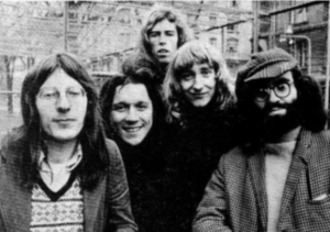 "Stackridge, 1971 (Andy Davis, Michael ""Mutter"" Slater, Billy Bent, James Warren, Micahel Evans) (photo credit: JORGEN ANGEL)"
