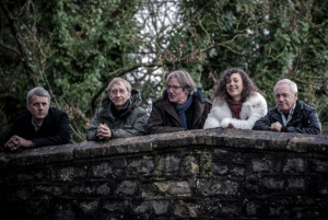 Stackridge, 2015 (Eddie John, James Warren, Andy Davis, Clare Lindley, Glenn Tommey) (publicity photo)