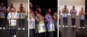 Ladysmith Black Mambazo (Albert Mazibuko, Mfanafuthi Dlamini, Thamsanqa Shabalala, Pius Shezi; Pius Shezi, Msizi Shabalala, Thulani Shabalala;  Sabelo Mthembu, Abednego Mazibuko, Sibongiseni Shabalala (photo credits: DARREN TRACY)