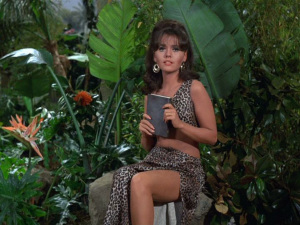 "Dawn Wells in leopard skin dress, from the GILLIGAN'S ISLAND episode, ""The Second Ginger Grant"" (video still)"