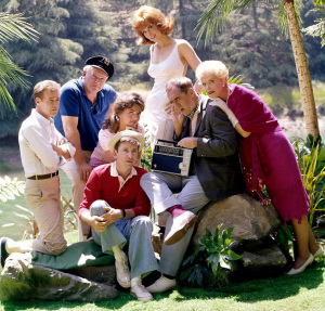 The cast of GILLIGAN'S ISLAND (Russell Johnson, Alan Hale Junior, Bob Denver, Dawn Wells, Tina Louise, Jim Backus, Natalie Schafer) (publicity photo)