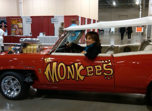 Two of our favorite things, Dawn Wells and the Monkeemobile (uncredited photo)