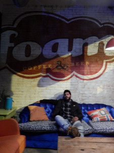 Carlos relaxing in the Foam lounge (photo credit: DARREN TRACY)