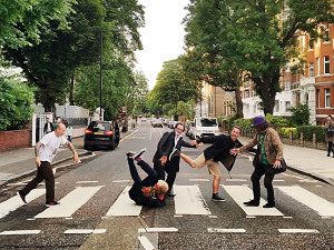 The Damned's Abbey Road moment (Stu West,Captain Sensible, Dave Vanian, Pinch, Monty Oxymoron) (photo courtesy: CAPTAIN SENSIBLE)